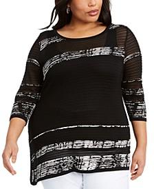 Plus Size Striped Asymmetrical-Hem Sweater