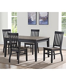 Raven Noir 5-Pc. Dining Set, (Dining Table & 4 Side Chairs)