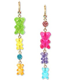 Gold-Tone Fireball & Gummy Bear Mismatch Linear Drop Earrings