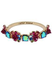 Gold-Tone Flower & Stone Cluster Bangle Bracelet