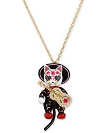 "Gold-Tone Sugar Skull Mariachi Cat Pendant Necklace, 28"" + 3"" extender"