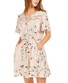 Juniors' Floral-Print Crochet-Trim Dress