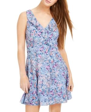Teeze Me Juniors' Ditsy Floral-Print Faux-Wrap Dress