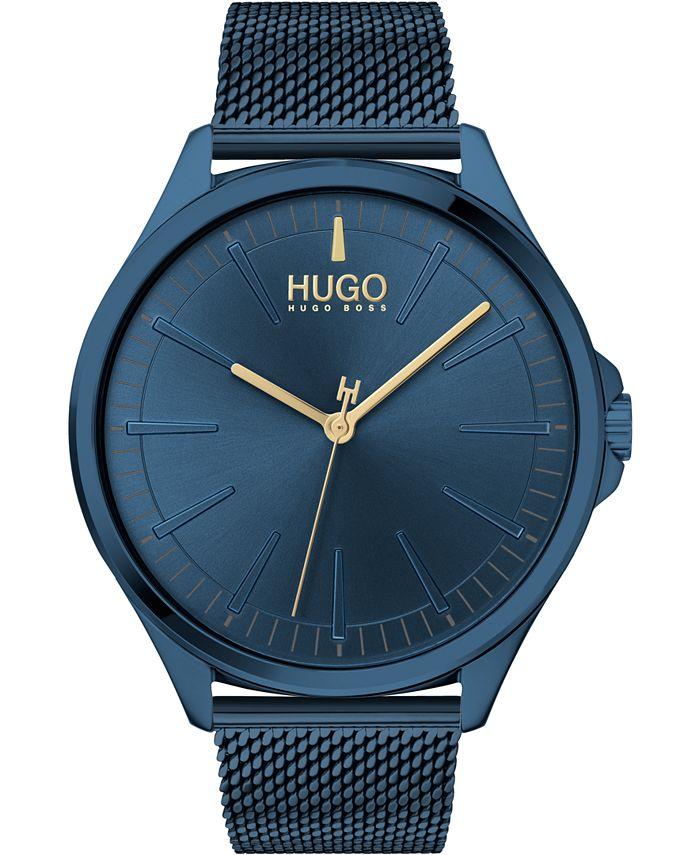 HUGO - Men's #Smash Blue Stainless Steel Mesh Bracelet Watch 43mm