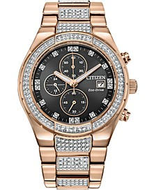 Men's Eco-Drive Crystal Rose Gold-Tone Stainless Steel Bracelet Watch 42mm