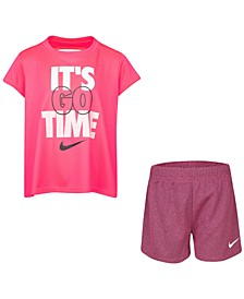 Little Girls 2-Pc. Go Time T-Shirt & Mesh Shorts Set