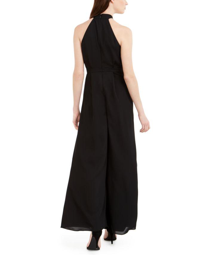 Calvin Klein Twisted Chiffon Halter Jumpsuit & Reviews - Pants & Leggings - Women - Macy's