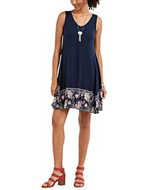 Printed-Hem Sleeveless Swing Dress, Created for Macy's