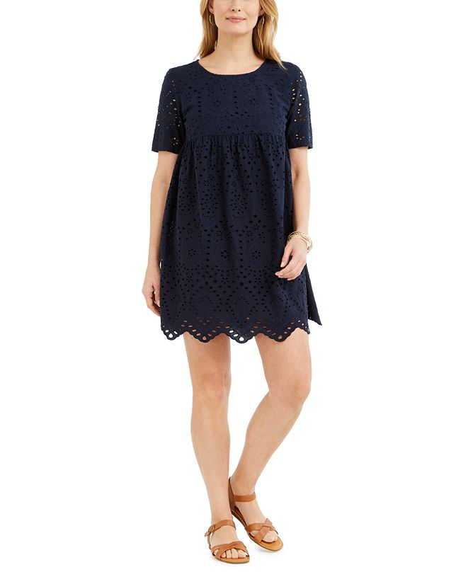 Style & Co Petite Cotton Eyelet Babydoll Dress, Created for Macy's