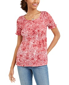 Petite Smocked Mesh Top, Created for Macy's