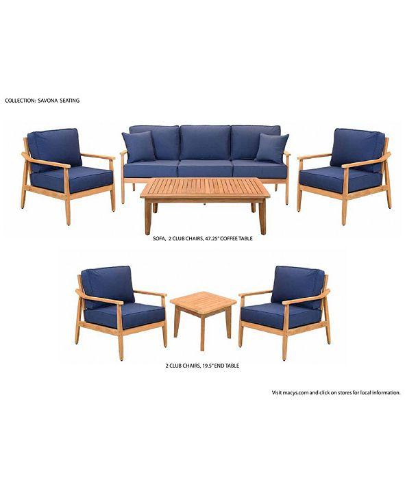 Furniture Savona Teak Outdoor 4-Pc. Seating Set (Sofa, 2 ...