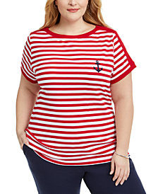Karen Scott Plus Size Anchor Stripe Cotton Top, Created for Macy's