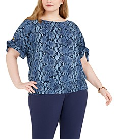 Plus Size Snake-Print Tie-Sleeve Top