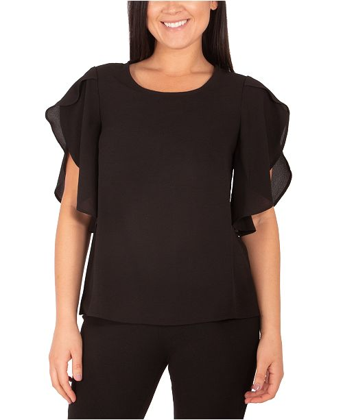 NY Collection Petite Flutter-Sleeve Top