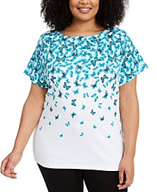 Plus Size Butterfly-Print Top, Created for Macy's