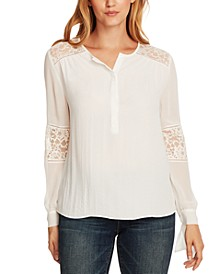 Tie-Cuff Lace-Trim Rumple Blouse
