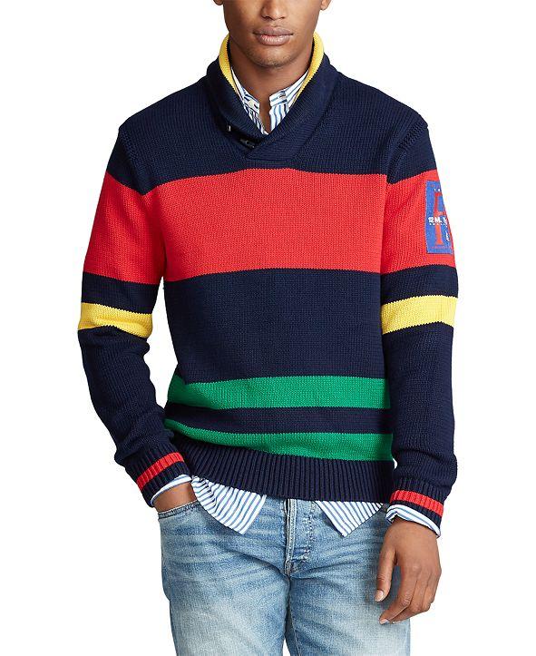 Polo Ralph Lauren Men's Striped Cotton Shawl Sweater