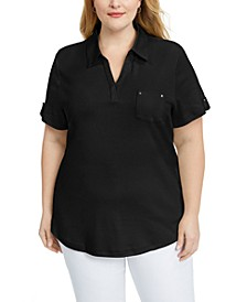 Plus Size Point-Collar Cotton Top, Created for Macy's