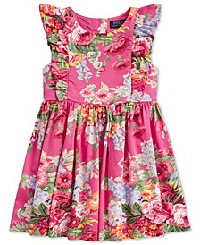 Toddler Girls Floral Ruffled Cotton Dress