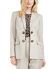 Double-Breasted Open-Front Blazer