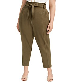 Plus Size Slim-Ankle Tie-Waist Pants