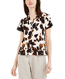 Cow-Print V-Neck Top