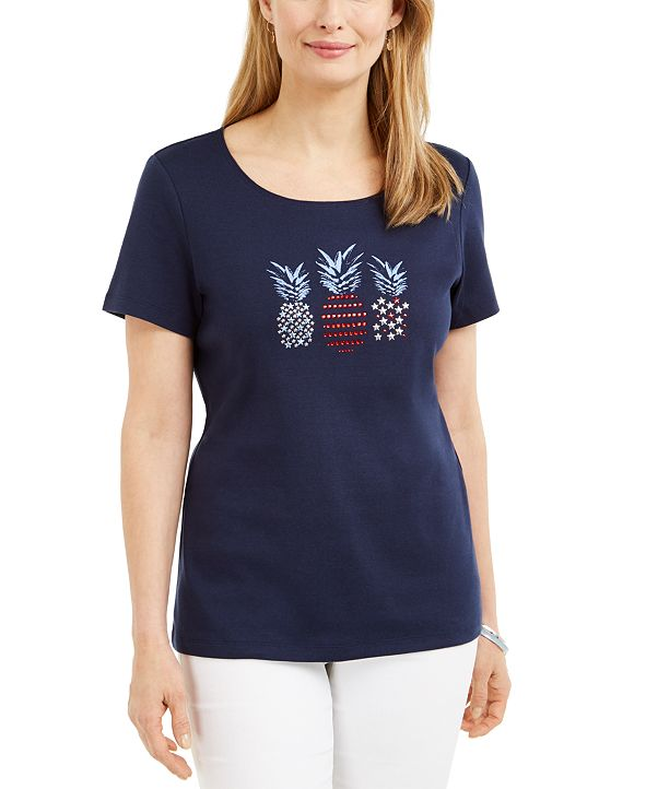 Karen Scott Cotton Embellished Pineapple Top, Created for Macy's