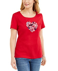 Cotton Embellished Heart Top, Created for Macy's