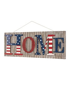 "36.10""L Metal-Wooden Patriotic Home Wall Decor"