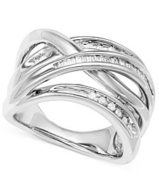 Diamond Crisscross Ring in Sterling Silver (1/4 ct. t.w.)