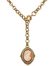 "Gold-Tone Imitation Pearl Cameo Medallion 21-3/4"" Lariat Necklace"