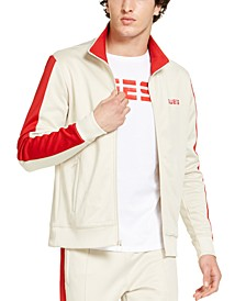 Men's Athletic-Fit Fleece Block Patch Track Jacket