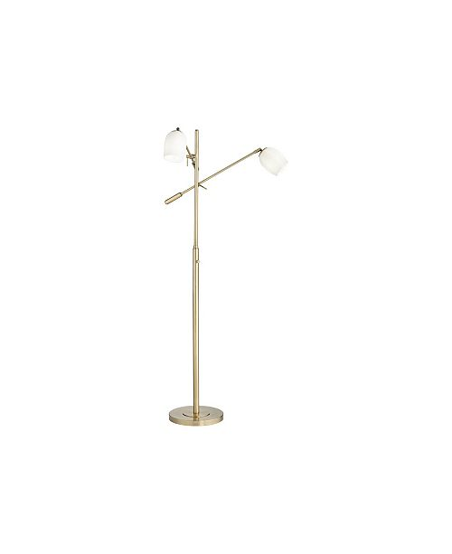 Pacific Coast Lighting 2 Warm Antique Brass Floor Lamp with Opal Shades