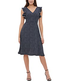Dot-Print Double Twill Fit & Flare Dress