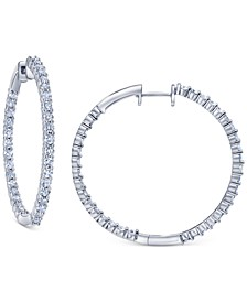 Diamond Small In & Out Hoop Earrings (1/2 ct. t.w.) in 14k White Gold, 0.7""