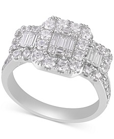 Diamond Baguette Halo Cluster Engagement Ring (1-1/2 ct. t.w.) in 14k White Gold