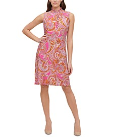 Paisley-Print Mock-Neck A-Line Dress
