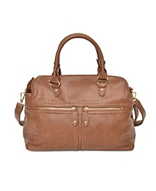 Women's Slouchy Satchel with Zipper Detail and Removable Crossbody Strap