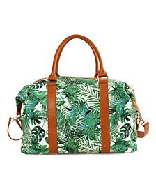 Palm Print Double Handles and Removable/Adjustable Strap Weekender Bag