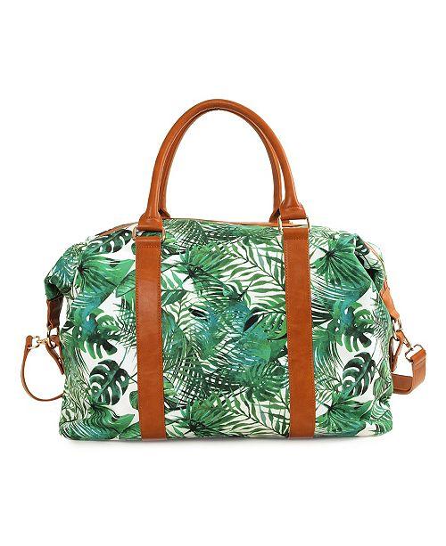 Imoshion Handbags Palm Print Double Handles and Removable/Adjustable Strap Weekender Bag