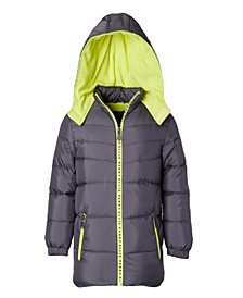 Little Boys Quilted Puffer with Logo Taping