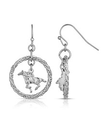 Silver-Tone Suspended Horse Drop Earrings