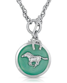 Silver-Tone Enamel Horse Pendant Toggle Necklace