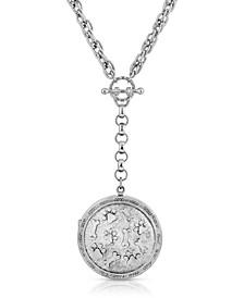 Silver Tone Paw Print Locket Y Necklace