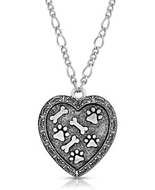 Pewter Heart Paw and Bones Necklace