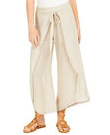 BCX Juniors' Tie-Front Gauze Pants