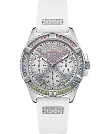 Women's White Silicone Strap Watch 40mm