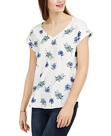 Juniors' Printed Tie-Back Top