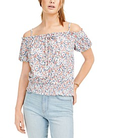 Juniors' Off-The-Shoulder Floral Top