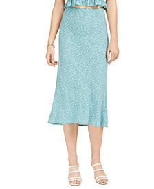 Juniors' Dot-Print Bias-Cut Midi Skirt